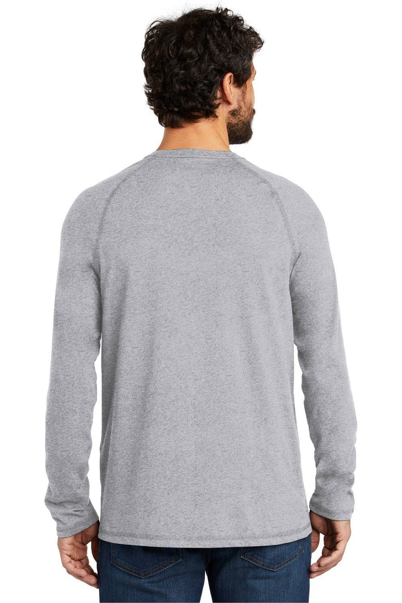 Gray Carhartt Men's Delmont Moisture Wicking Long Sleeve Crewneck T-Shirt w/ Pocket