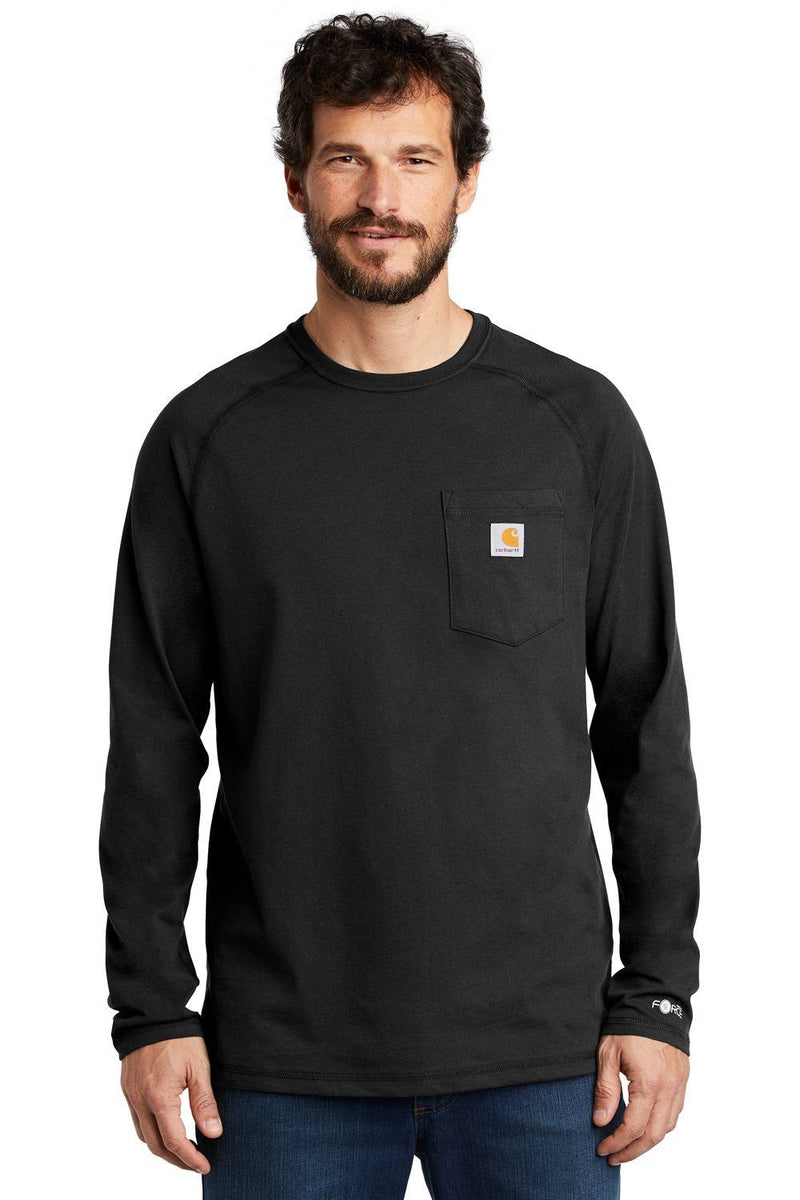 Carhartt Mens Delmont Moisture Wicking Long Sleeve Crewneck T-Shirt w/ Pocket Mens T-Shirts Carhartt S Black