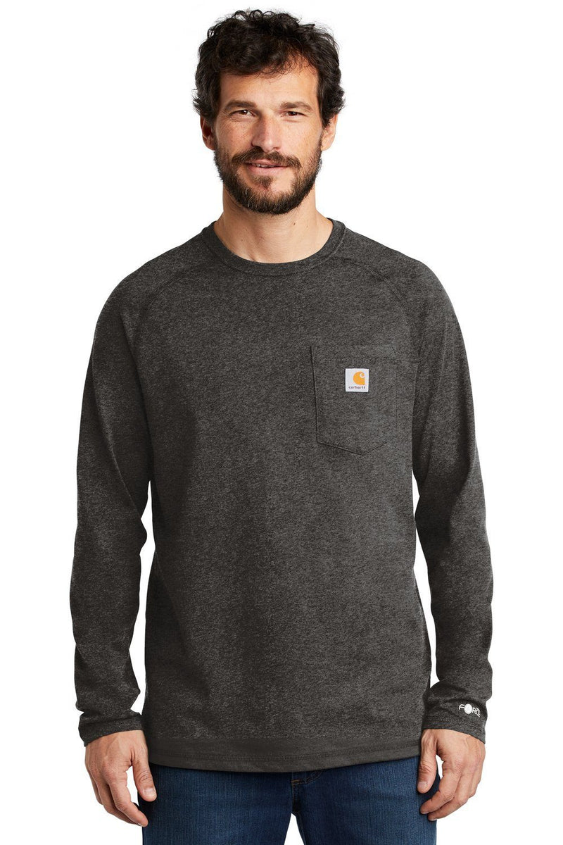 White Carhartt Men's Delmont Moisture Wicking Long Sleeve Crewneck T-Shirt w/ Pocket