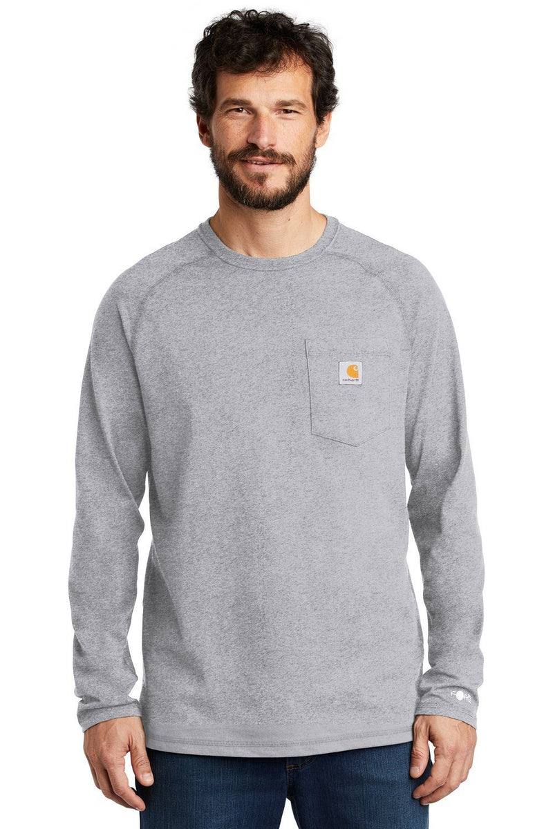 Carhartt Mens Delmont Moisture Wicking Long Sleeve Crewneck T-Shirt w/ Pocket Mens T-Shirts Carhartt S Heather Grey