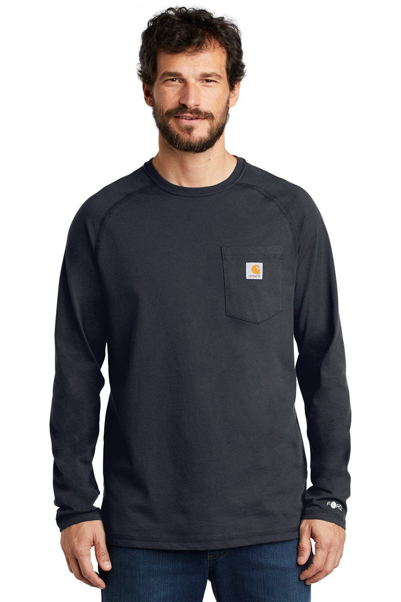 Carhartt Mens Delmont Moisture Wicking Long Sleeve Crewneck T-Shirt w/ Pocket Mens T-Shirts Carhartt S Navy Blue