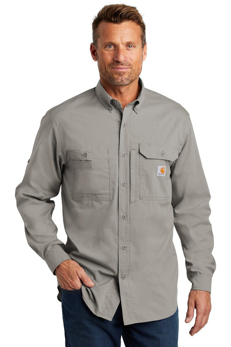 Snow Carhartt Men's Force Ridgefield Moisture Wicking Long Sleeve Button Down Shirt w/ Double Pockets