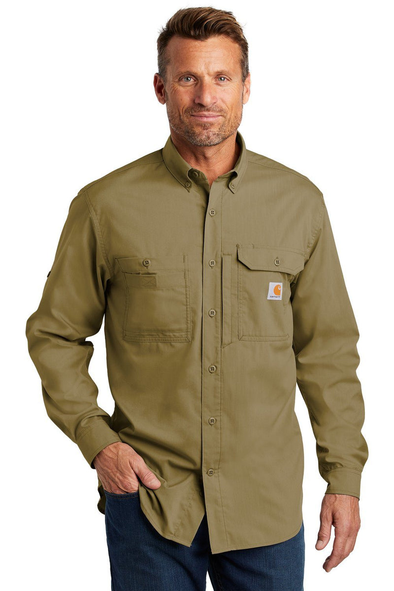 Dim Gray Carhartt Men's Force Ridgefield Moisture Wicking Long Sleeve Button Down Shirt w/ Double Pockets