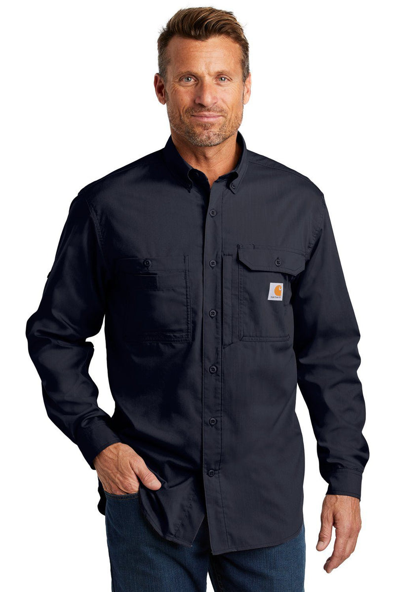 Dark Slate Gray Carhartt Men's Force Ridgefield Moisture Wicking Long Sleeve Button Down Shirt w/ Double Pockets