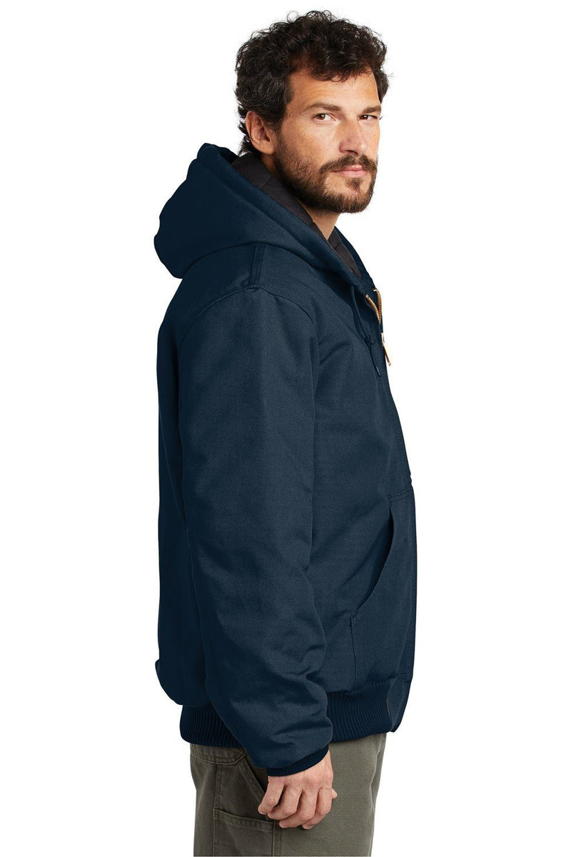White Carhartt Men's Wind & Water Resistant Duck Cloth Full Zip Hooded Work Jacket
