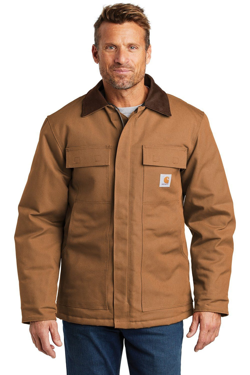 Carhartt Mens Wind & Water Resistant Duck Cloth Full Zip Jacket Mens Casual Jackets Carhartt S Carhartt Brown