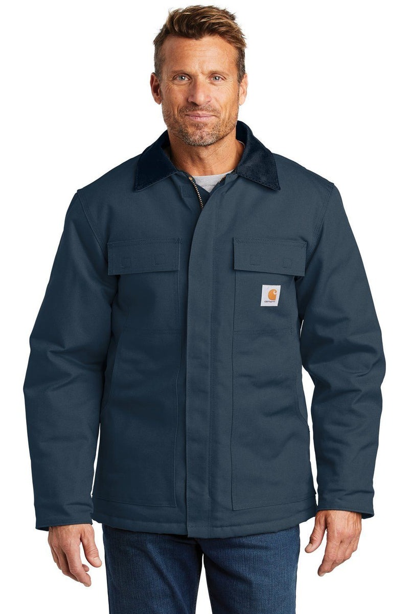 Carhartt Mens Wind & Water Resistant Duck Cloth Full Zip Jacket Mens Casual Jackets Carhartt S Navy Blue