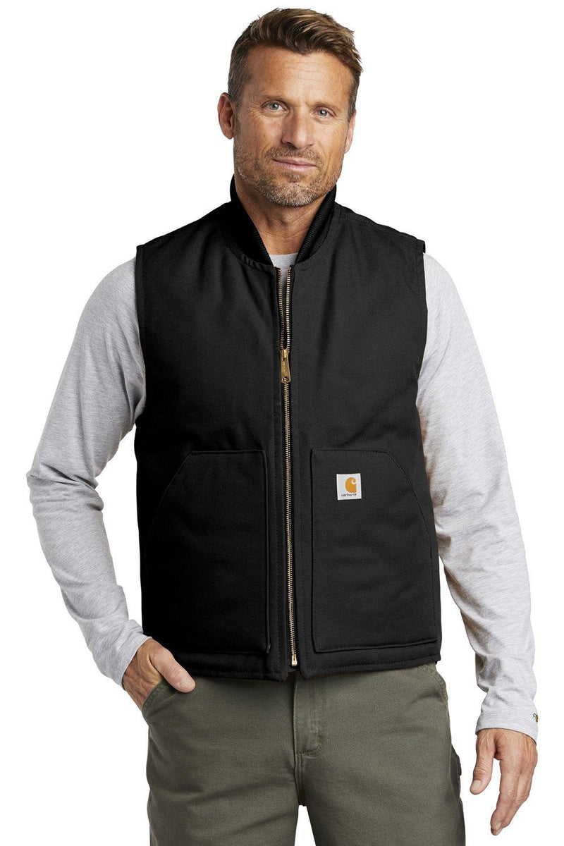 Carhartt Mens Wind & Water Resistant Duck Cloth Full Zip Vest Mens Vests Carhartt S Black