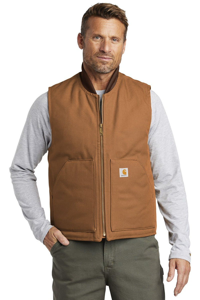 Carhartt Mens Wind & Water Resistant Duck Cloth Full Zip Vest Mens Vests Carhartt S Carhartt Brown