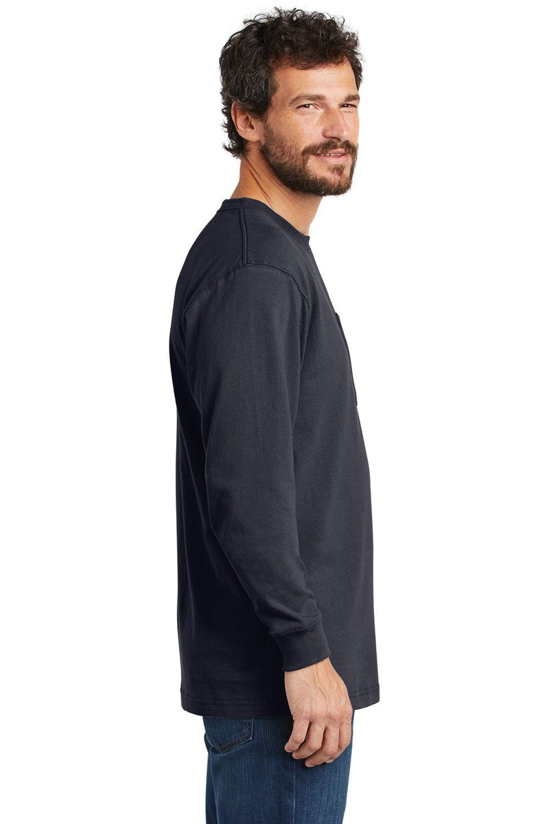 White Carhartt Men's Workwear Long Sleeve Crewneck T-Shirt w/ Pocket