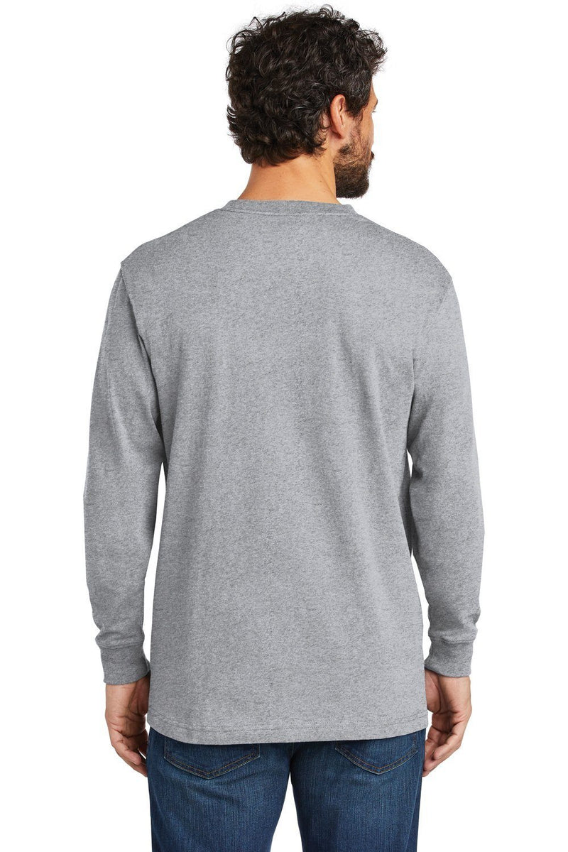 Dark Gray Carhartt Men's Workwear Long Sleeve Crewneck T-Shirt w/ Pocket