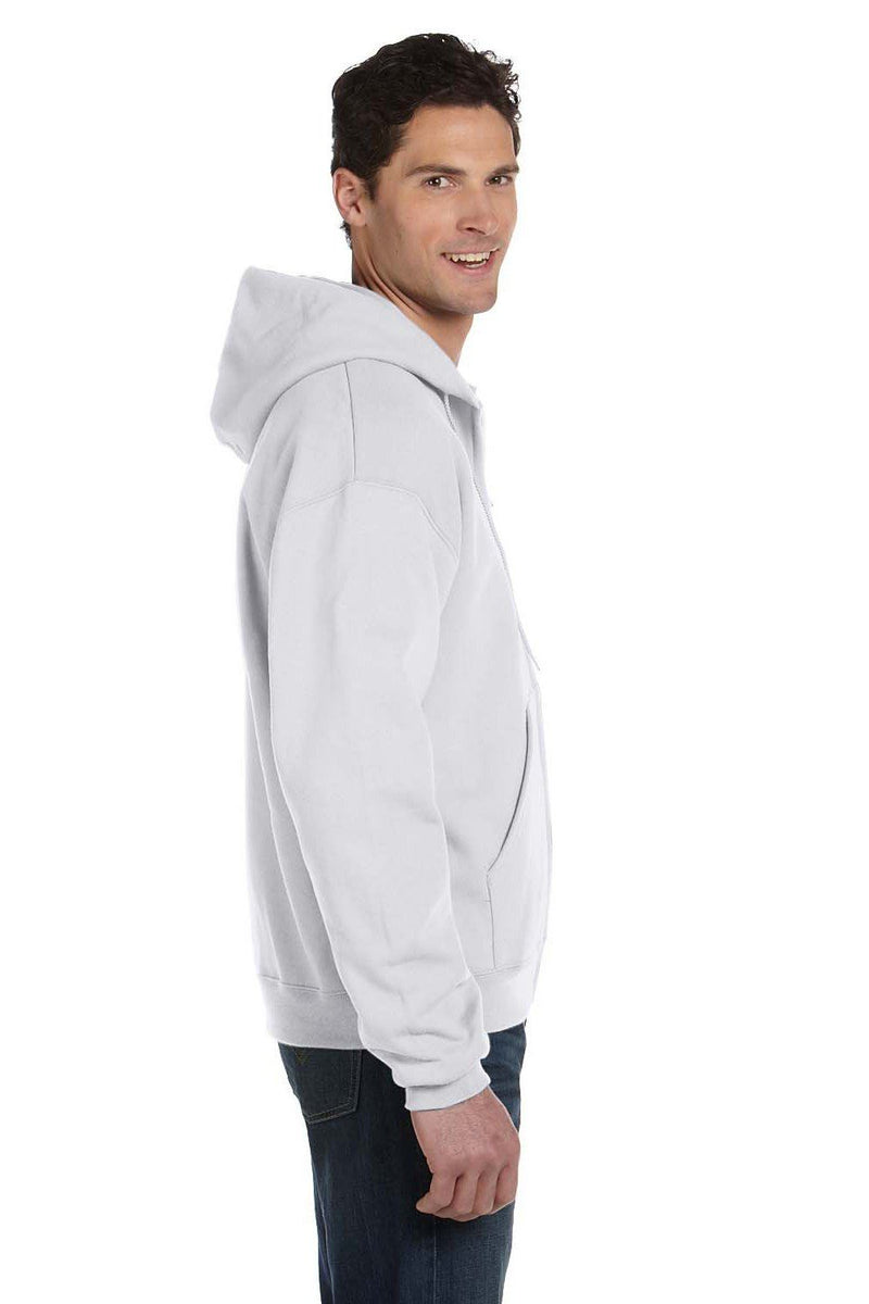White Smoke Champion Men's Double Dry Eco Moisture Wicking Fleece Full Zip Hooded Sweatshirt