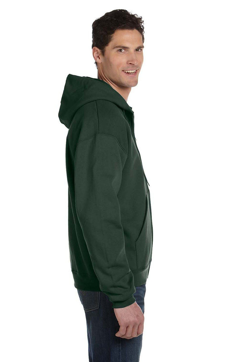 White Champion Men's Double Dry Eco Moisture Wicking Fleece Full Zip Hooded Sweatshirt