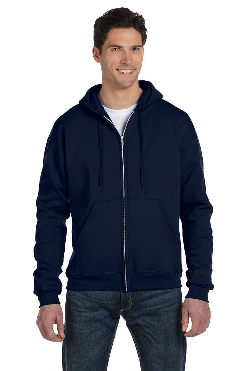 Black Champion Men's Double Dry Eco Moisture Wicking Fleece Full Zip Hooded Sweatshirt