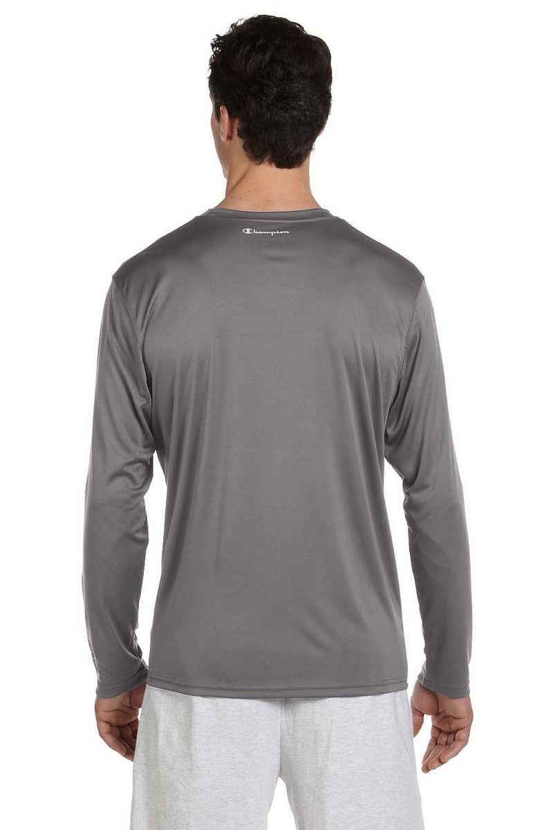 Slate Gray Champion Men's Double Dry Moisture Wicking Long Sleeve Crewneck T-Shirt