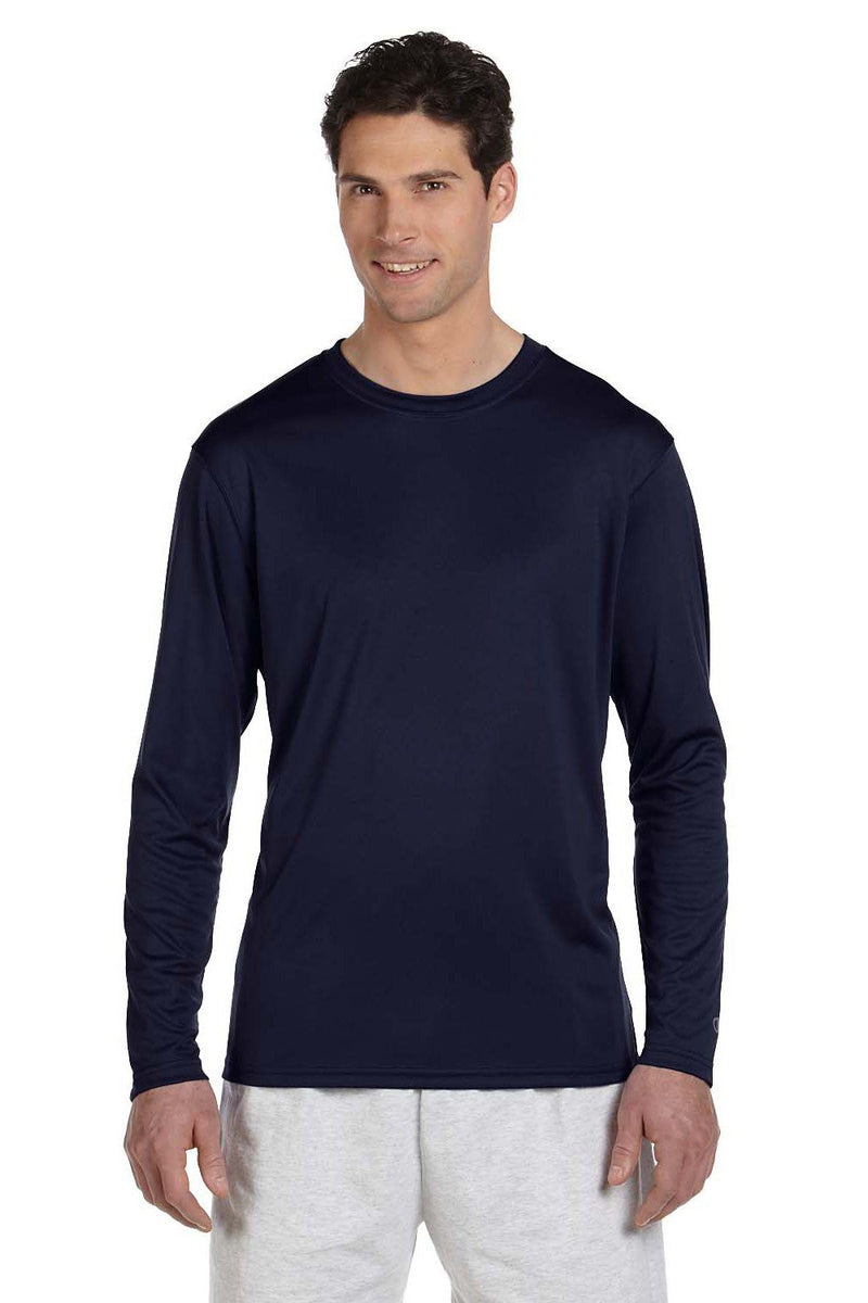 Champion Mens Double Dry Moisture Wicking Long Sleeve Crewneck T-Shirt Mens T-Shirts Champion S Navy Blue