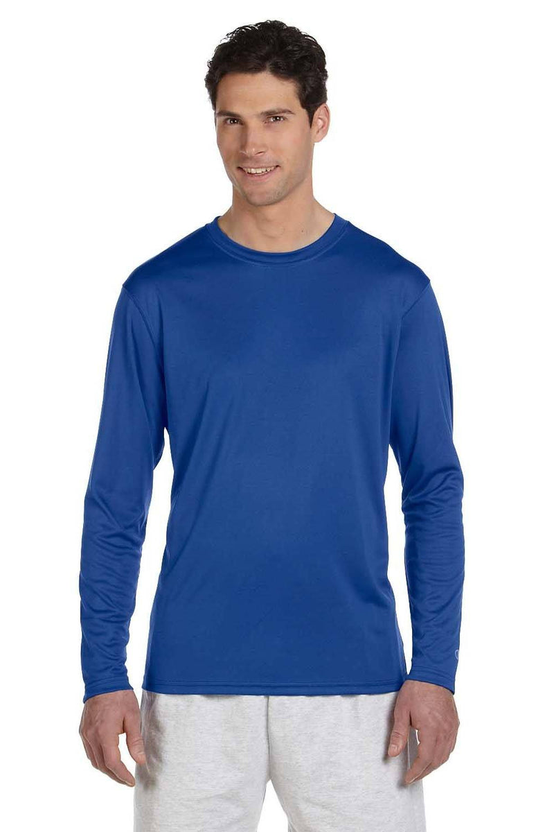 Champion Mens Double Dry Moisture Wicking Long Sleeve Crewneck T-Shirt Mens T-Shirts Champion S Royal Blue