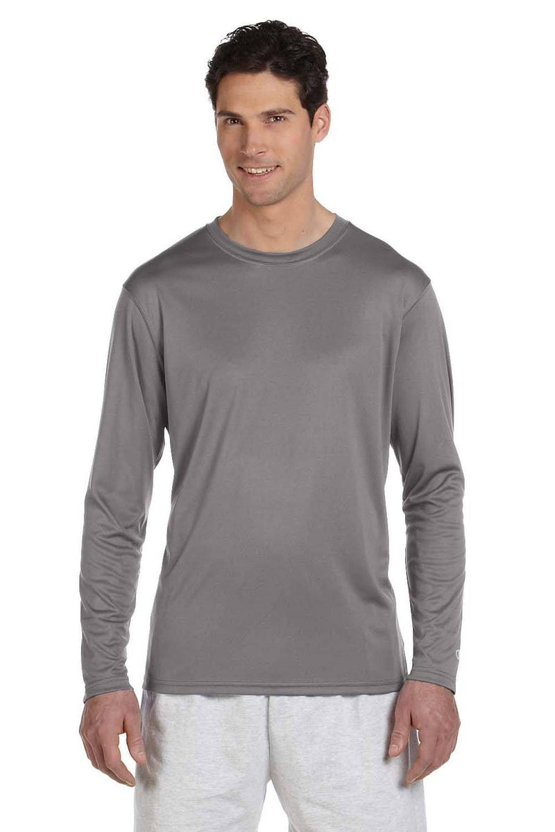 Champion Mens Double Dry Moisture Wicking Long Sleeve Crewneck T-Shirt Mens T-Shirts Champion S Stone Grey