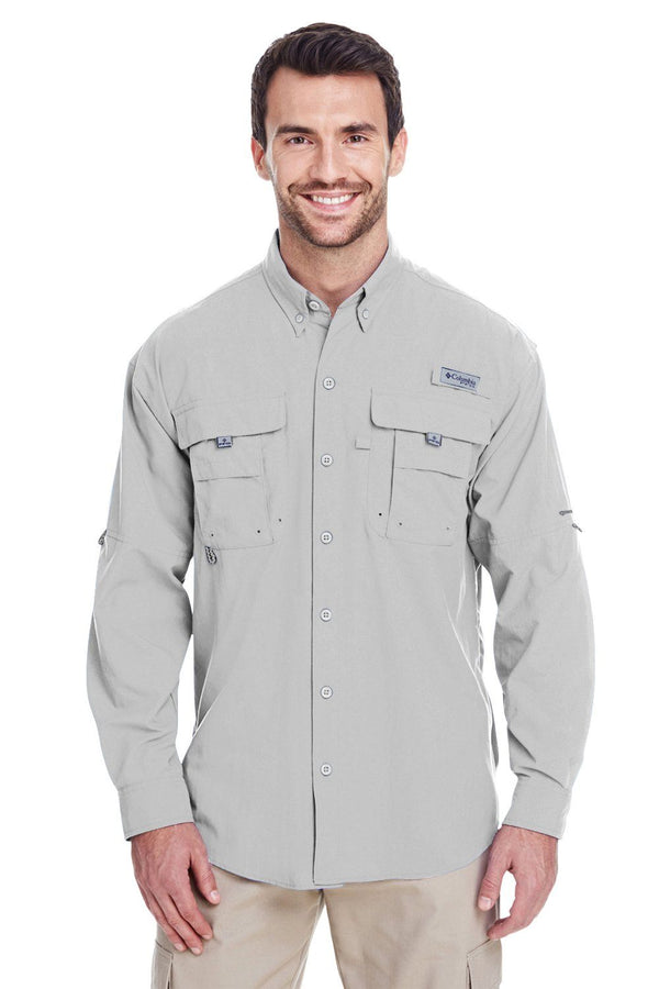 Columbia Mens Bahama II Moisture Wicking Long Sleeve Button Down Shirt w/ Double Pockets Mens Button Down Shirts Columbia S Cool Grey