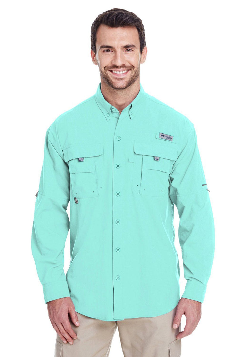 Pale Turquoise Columbia Men's Bahama II Moisture Wicking Long Sleeve Button Down Shirt w/ Double Pockets