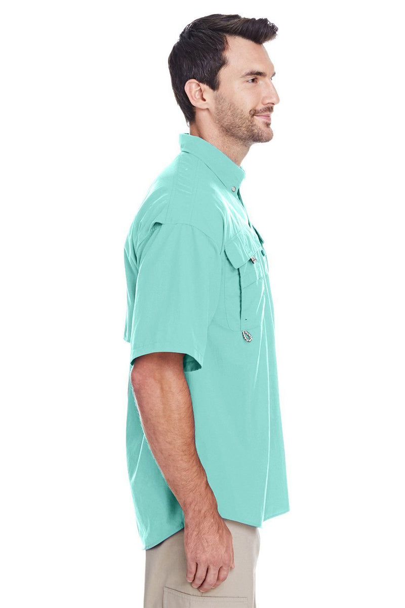 White Columbia Men's Bahama II Moisture Wicking Short Sleeve Button Down Shirt w/ Double Pockets