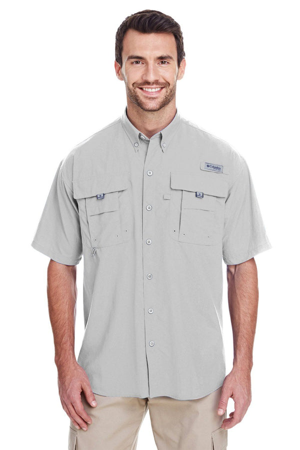 Columbia Mens Bahama II Moisture Wicking Short Sleeve Button Down Shirt w/ Double Pockets Mens Button Down Shirts Columbia S Cool Grey