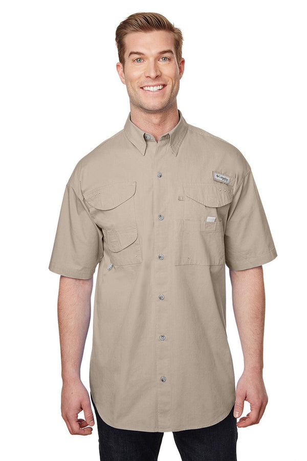 Columbia Mens Bonehead Short Sleeve Button Down Shirt w/ Double Pockets Mens Button Down Shirts Columbia S Fossil Brown