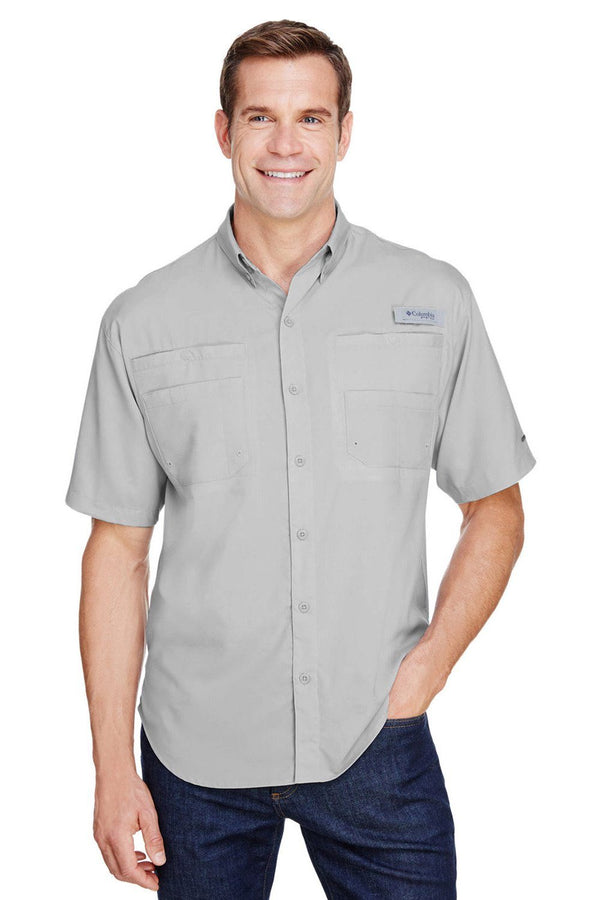 Columbia Mens Tamiami II Moisture Wicking Short Sleeve Button Down Shirt w/ Double Pockets Mens Button Down Shirts Columbia S Cool Grey