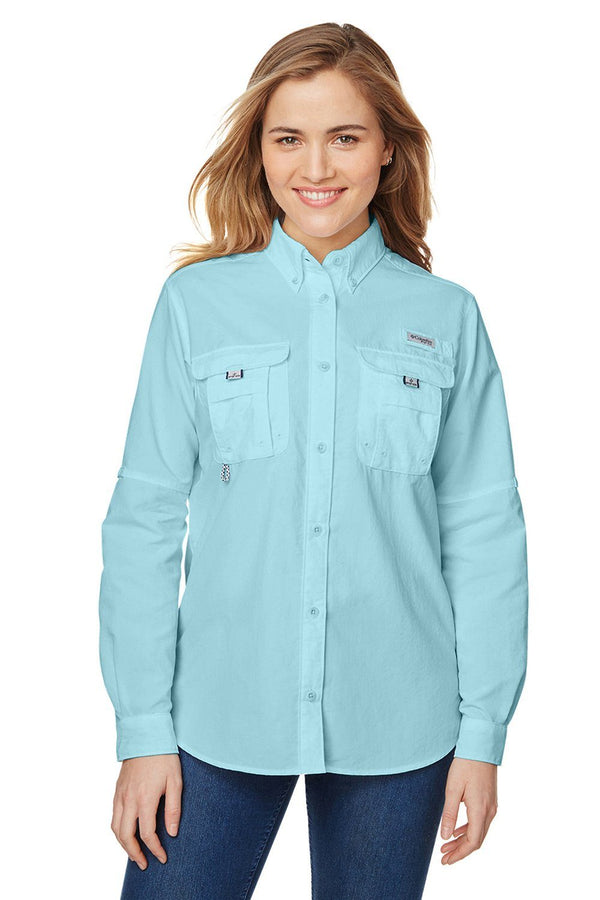 Light Blue Columbia Women's Bahama Moisture Wicking Long Sleeve Button Down Shirt w/ Double Pockets