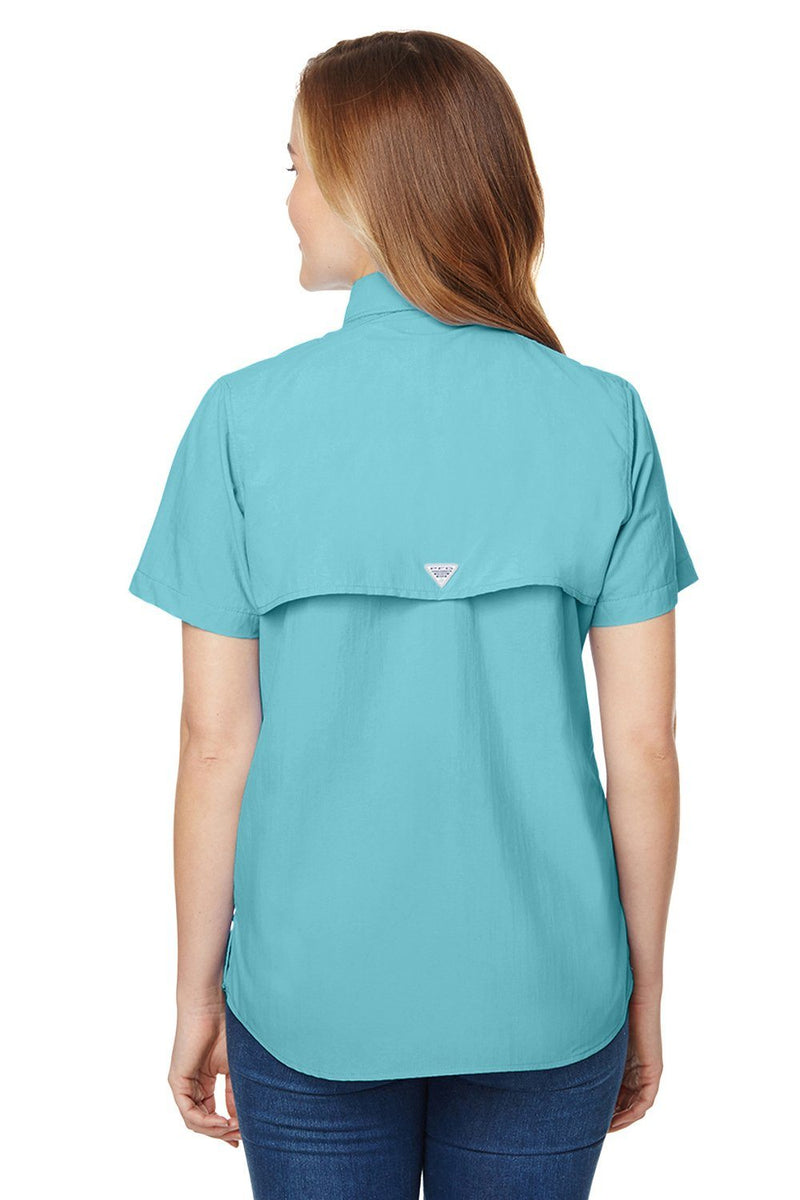 Sky Blue Columbia Women's Bahama Moisture Wicking Short Sleeve Button Down Shirt w/ Double Pockets