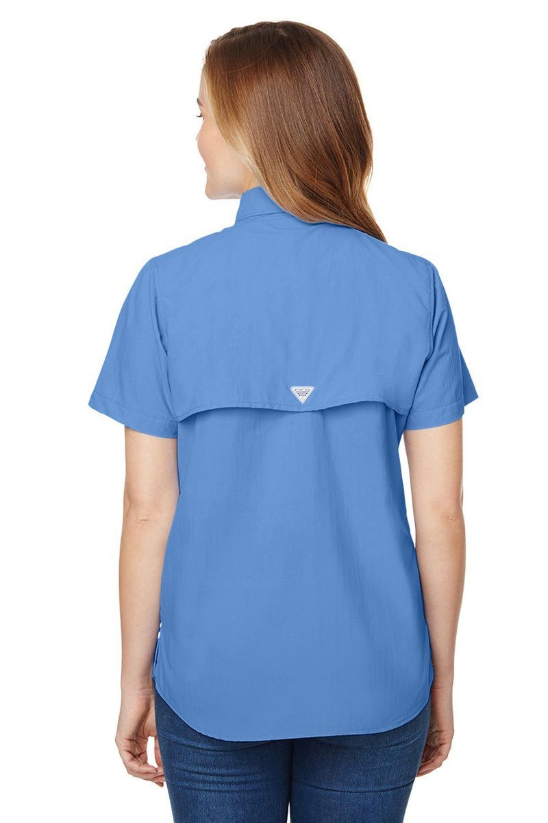 Cornflower Blue Columbia Women's Bahama Moisture Wicking Short Sleeve Button Down Shirt w/ Double Pockets