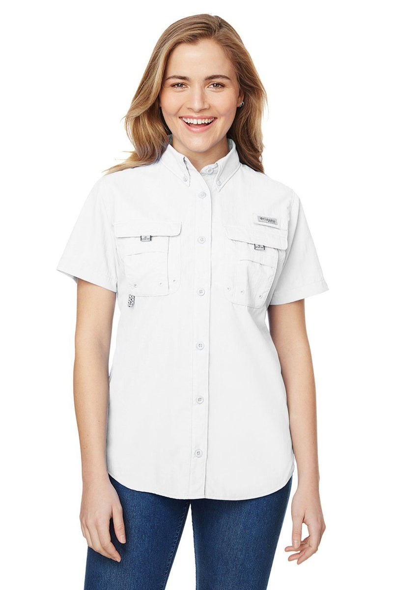 Snow Columbia Women's Bahama Moisture Wicking Short Sleeve Button Down Shirt w/ Double Pockets