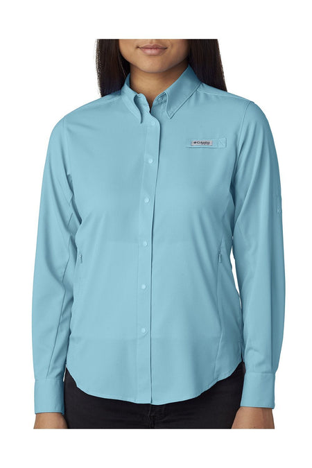 Columbia Womens Tamiami II Moisture Wicking Long Sleeve Button Down Shirt w/ Double Pockets Womens Button Down Shirts Columbia XS Clear Blue