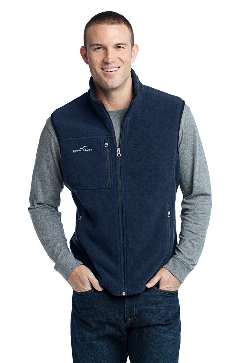 Eddie Bauer Mens Full Zip Fleece Vest Mens Vests Eddie Bauer XS River Blue
