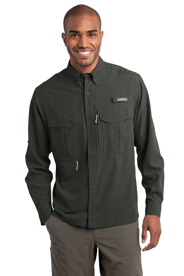 Eddie Bauer Mens Performance Fishing Moisture Wicking Long Sleeve Button Down Shirt w/ Double Pockets Mens Button Down Shirts Eddie Bauer XS Boulder
