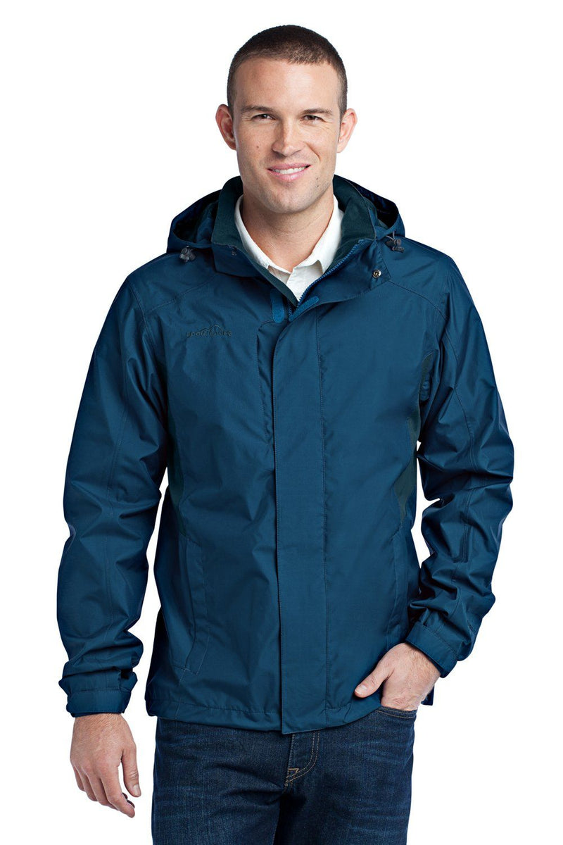 Eddie Bauer Mens Waterproof Full Zip Hooded Jacket Mens Casual Jackets Eddie Bauer XS Deep Sea Blue