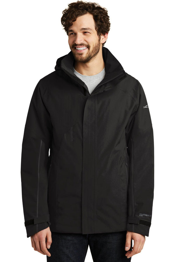 Black Eddie Bauer Men's WeatherEdge Plus Waterproof Full Zip Hooded Jacket