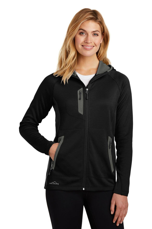 White Eddie Bauer Women's Sport Full Zip Fleece Hooded Jacket