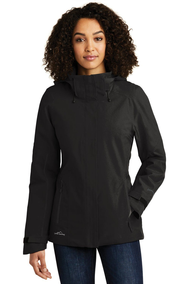 Eddie Bauer Womens WeatherEdge Plus Waterproof Full Zip Hooded Jacket Womens Casual Jackets Eddie Bauer XS Black