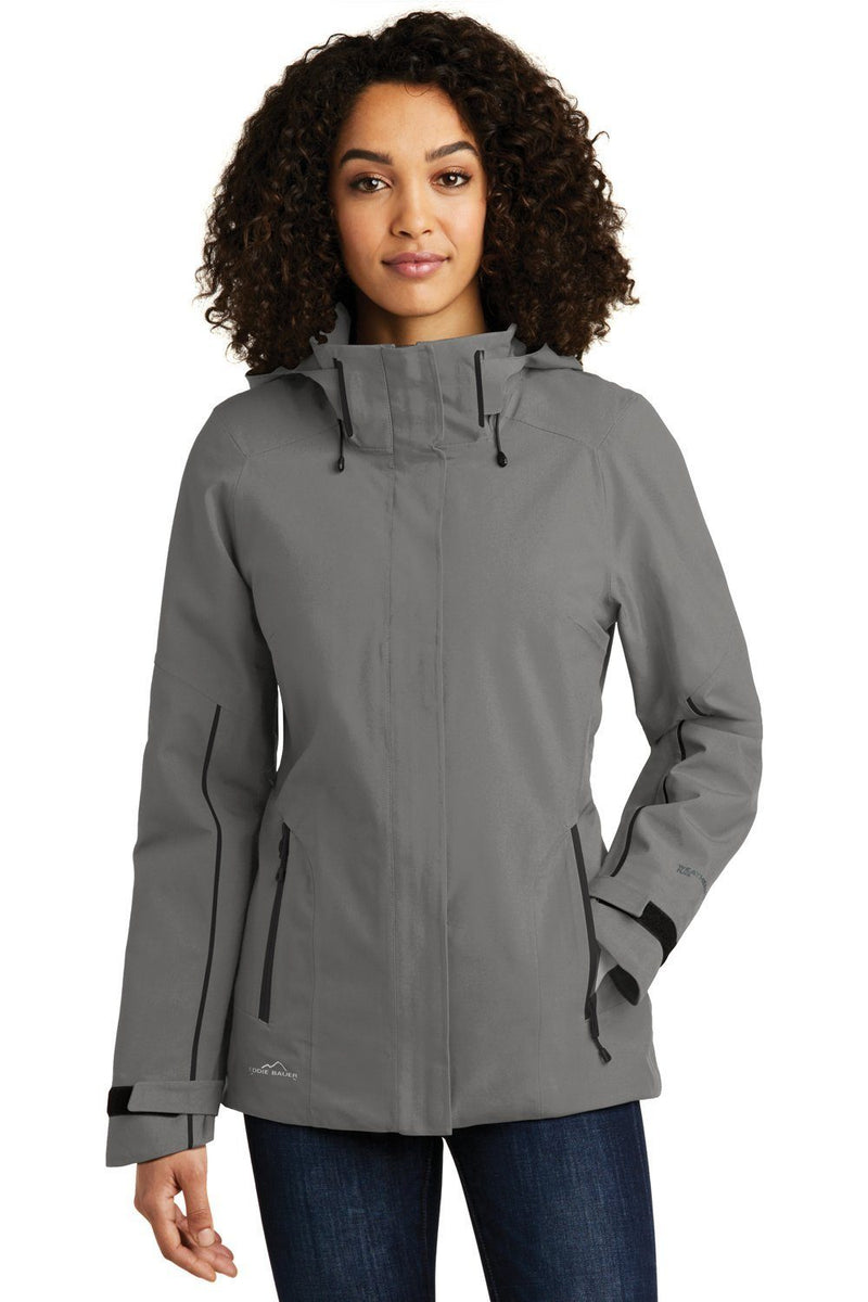 White Eddie Bauer Women's WeatherEdge Plus Waterproof Full Zip Hooded Jacket