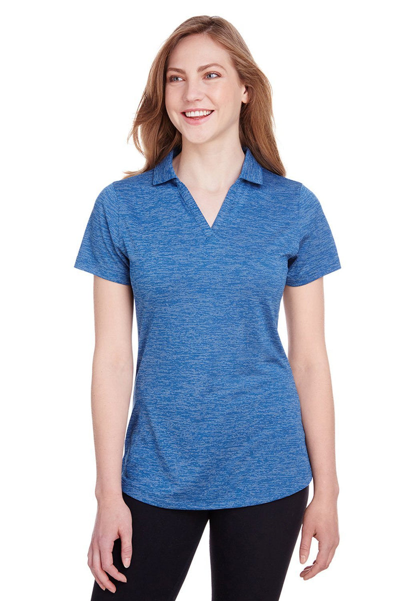 Steel Blue Puma Women's Icon Performance Moisture Wicking Short Sleeve Polo Shirt