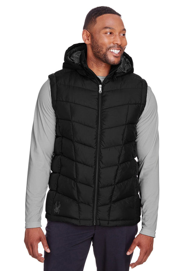 Spyder Mens Pelmo Full Zip Hooded Puffer Vest Mens Vests Spyder S Black