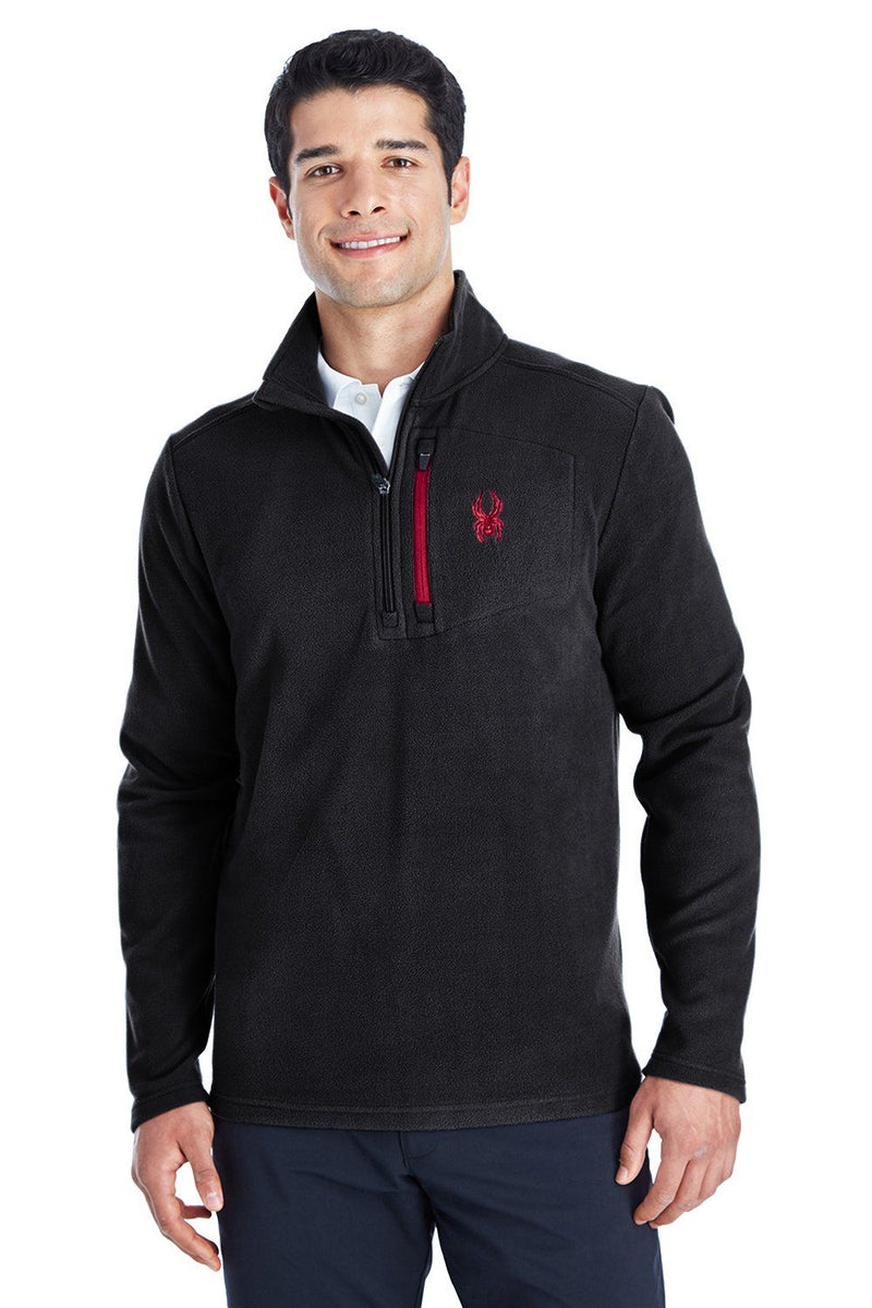 Spyder Mens Transport 1/4 Zip Fleece Jacket Mens Fleece Jackets Spyder S Black