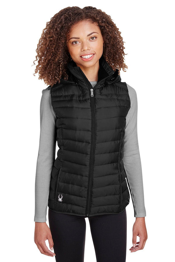 Spyder Womens Supreme Full Zip Hooded Puffer Vest Womens Vests Spyder XS Black