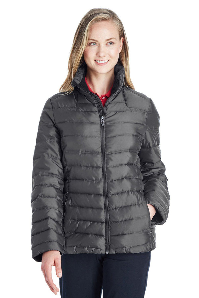 Spyder Womens Supreme Puffer Full Zip Jacket Womens Casual Jackets Spyder XS Polar Grey