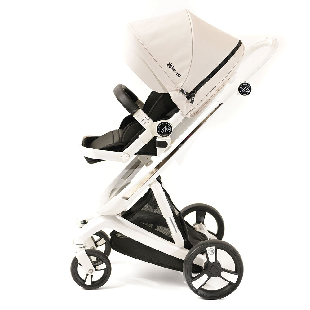Beige Milkbe Lullaby Auto Stopping Stroller
