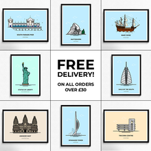 Load image into Gallery viewer, Free delivery on all travel poster orders over £30 from Vault 84