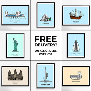 Free delivery on all travel poster orders over £30 from Vault 84