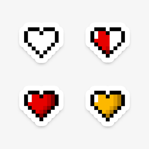 Retro Pixelated Heart vinyl die-cut sticker pack by Vault 84