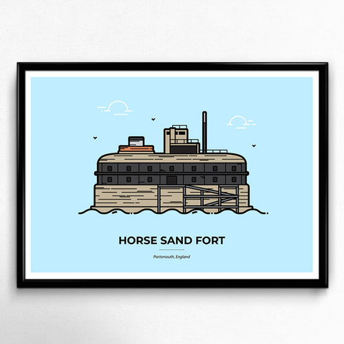 Horse Sand Fort, Solent Forts, Portsmouth Travel poster designed by Christine Wilde at Vault 84
